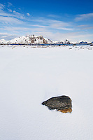 Snow covered winter landscape, Near Stamsund, Vestvågøy, Lofoten islands, Norway