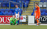St Johnstone v Dundee United...11.02.12.. SPL.Peter Enckelman holds his head in his hands after his howler gifted Dundee Utd the lead.Picture by Graeme Hart..Copyright Perthshire Picture Agency.Tel: 01738 623350  Mobile: 07990 594431