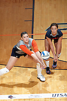 SAN ANTONIO, TX - SEPTEMBER 7, 2015: The #12 ranked University of Oregon Ducks fall to the University of Texas at San Antonio Roadrunners 3-1 (21-25, 25-23, 25-19, 25-23) at the UTSA Convocation Center. (Photo by Jeff Huehn)