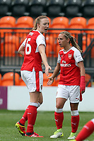 Louise Quinn (16) of Arsenal Ladies is congratulated after scoring the third goal during Arsenal Ladies vs Birmingham City Ladies, FA Women's Super League FA WSL1 Football at the Hive Stadium on 20th May 2017