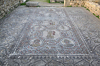 Roman mosaic of the Four Seasons, in the dining room of the House of Dionysos, 3rd century AD, Volubilis, Northern Morocco. Volubilis was founded in the 3rd century BC by the Phoenicians and was a Roman settlement from the 1st century AD. Volubilis was a thriving Roman olive growing town until 280 AD and was settled until the 11th century. The buildings were largely destroyed by an earthquake in the 18th century and have since been excavated and partly restored. Volubilis was listed as a UNESCO World Heritage Site in 1997. Picture by Manuel Cohen
