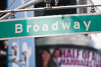 Broadway Street Sign at 42nd Street in Times Square, New York City