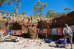 People beginning to hike up to the cave where the Wandjina paintings are at Raft Point, Kimberley Coast, Australia