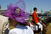 Julie Sukenik from Norcross, Georgia wears her Derby Hat at the Kentucky Derby at Churchill Downs race track. Derby hats have long been a tradition in style at the Kentucky Derby.