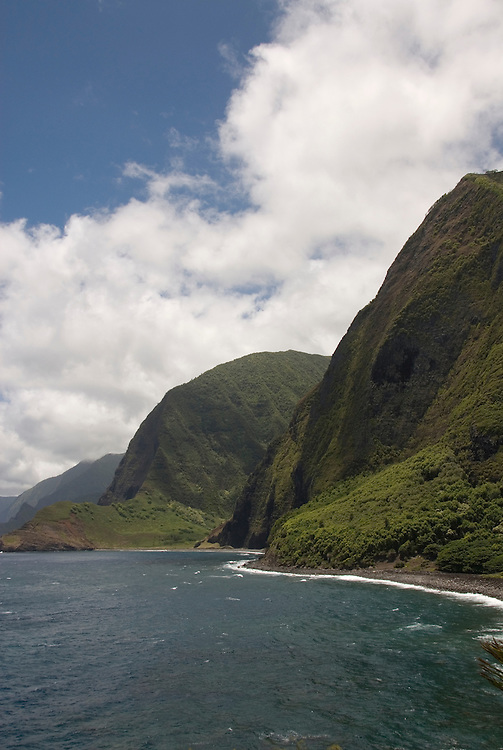 Hawaii: Molokai, cliffs and seafins at Kalawao, with view of Waikoloa River Valley, scenic. .Photo himolo110-71887..Photo copyright Lee Foster, www.fostertravel.com, lee@fostertravel.com, 510-549-2202
