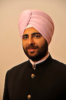 Groom Navneet Singh after he has had his turban put on for his wedding ceremony.