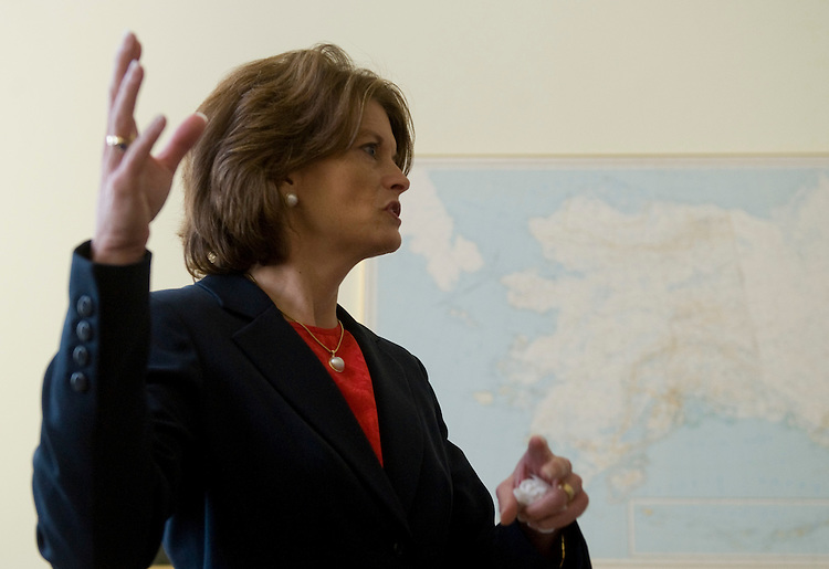 Sen. Lisa Murkowski, R-Alaska, shows off her office in the Hart Building on Thursday, Jan. 29, 2009.