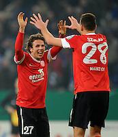 FUSSBALL   DFB POKAL    SAISON 2012/2013    ACHTELFINALE FC Schalke 04 - FSV Mainz 05                          18.12.2012 Nicolai Mueller und Adam Szalai (v.l., beide FSV Mainz 05) jubeln nach dem Abpfiff