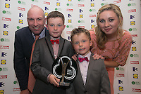 03/06/2014  <br />   Gavin Kelly and Liam Kelly who recieved the Child of Courage award from  Anna Daly &amp; DJ Carey<br /> during the Pride of Ireland awards at the Mansion House, Dublin.<br /> Photo: Gareth Chaney Collins