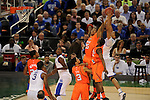 31 MAR 2012:  Anthony Davis (23) of the University of Kentucky plays Wayne Blackshear (25) of the University of Louisville during the Semifinal Game of the 2012 NCAA Men's Division I Basketball Championship Final Four held at the Mercedes-Benz Superdome hosted by Tulane University in New Orleans, LA. Kentucky defeated Louisville 69-61 to advance to the national final. Brett Wilhelm/ NCAA Photos
