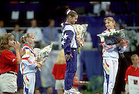 July 19, 1998; New York, NY, USA; (L-R) Artistic gymnasts Simona Amanar of Romania (bronze), Dominique Moceanu of USA (gold) and Maria Olaru of Romania (silver) celebrate All-Around medals at 1998  Goodwill Games New York. Copyright 1998 Tom Theobald