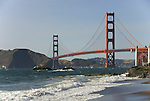 San Francisco: Baker Beach with Golden Gate Bridge in background.  Photo # 2-casanf83463.  Photo copyright Lee Foster