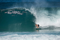Backdoor Pipeline OffThe Wall, North Shore of Oahu, Hawaii Monday December 8 2014) Lee Ann Curren (FRA) - The surf was in the 4'-6' range at Pipeline and Backdoor today with a  dropping NNW swell and light  winds. A new more NW swell was slowing building during the day. Photo: joliphotos.com