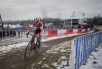 Marianne Vos (NED/WM3) leading the race in the 1 but last lap<br /> <br /> Women's Race<br /> UCI 2017 Cyclocross World Championships<br /> <br /> january 2017, Bieles/Luxemburg
