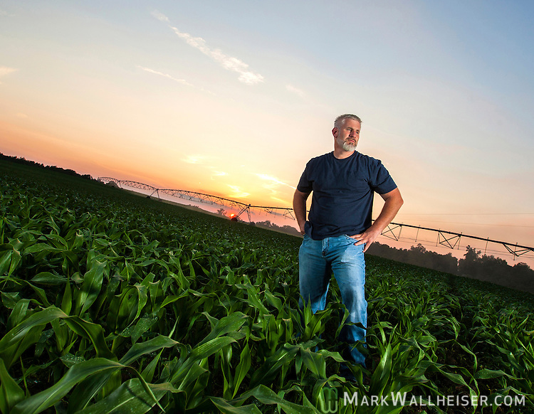 Randy Dowdy in one of his double row corn fields just outside the rural town of Pavo, Ga  near Valdosta in southwest Georgia May 9, 2013.