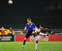Aron Johannsson of US goes after the ball against Peru's Paolo Hurtado. USA defeated Peru 2-1 during a Friendly Match at the RFK Stadium in Washington, D.C. on Friday, September 4, 2015.  Alan P. Santos/DC Sports Box