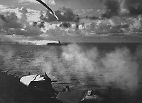 Japanese plane shot down as it attempted to attack USS KITKUN BAY.  Near Mariana Islands, June 1944.  (Navy)<br /> Exact Date Shot Unknown<br /> NARA FILE #:  080-G-238363<br /> WAR &amp; CONFLICT BOOK #:  975
