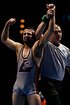 LA CROSSE, WI - MARCH 11: Dustin Weinmann of Wisconsin-La Crosse celebrates after beating Cross Cannone of Wartburg in the 141 weight class during NCAA Division III Men's Wrestling Championship held at the La Crosse Center on March 11, 2017 in La Crosse, Wisconsin. Weinmann beat Cannone 4-0 to win the National Championship. (Photo by Carlos Gonzalez/NCAA Photos via Getty Images)