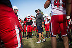 FRESNO, CA - AUGUST 11, 2014:   Fresno State head coach Tim DeRuyter talks to players during morning practice. CREDIT: Max Whittaker for The New York Times