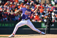 Starting pitcher Pat Krall (36) of the Clemson Tigers delivers in the Reedy River Rivalry game against the South Carolina Gamecocks on Saturday, March 4, 2017, at Fluor Field at the West End in Greenville, South Carolina. Clemson won, 8-7. (Tom Priddy/Four Seam Images)