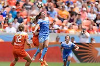 Houston, TX - Saturday April 15, 2017: Vanessa DiBernardo and Denise O'Sullivan go up for a header during a regular season National Women's Soccer League (NWSL) match between the Houston Dash and the Chicago Red Stars at BBVA Compass Stadium.