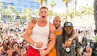 LAS VEGAS, NV - APRIL 29: Rob Gronkowski on stage with Flo Rida and Flavor at The Ragazzo in Las Vegas, Nevada on April 29, 2017. Credit: GDP Photos/MediaPunch