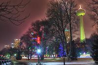 Winter night view at Niagara Falls