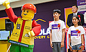 June 14, 2012, Tokyo, Japan - A giant Lego man character reacts during the opening ceremony of the LEGOLAND Discovery Center Tokyo. The LEGOLAND Disovery Center contains over 3 million LEGO bricks in-house, a 4D movie theater, iconic city land marks of Tokyo all made of LEGO, and a interactive laser ride. The discovery center will open to the general public on June 15, 2012. (Photo by Christopher Jue/AFLO)