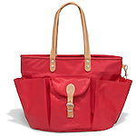 red tote with leather handles