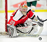 12 December 2009: St. Lawrence University Saints' goaltender Kain Tisi, a Senior from Mississauga, Ontario, makes a save against the University of Vermont Catamounts at Gutterson Fieldhouse in Burlington, Vermont. The Catamounts shut out their former ECAC rival Saints 3-0. Mandatory Credit: Ed Wolfstein Photo