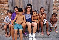 Cuban  Children on Doorstep, Republic of Cuba,