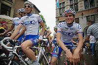 Matthieu Ladagnous (FRA) &amp; Yoann Offredo (FRA) at the start<br /> <br /> Halle - Ingooigem 2013<br /> 197km