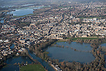The  Thames, Oxford in  flood . <br /> View of Oxford, looking  North West  with  Portmeadow to the top , a natural flood plain. <br /> The controversial University buildings  of Roger Dudman Way  can  be seen ( centre left  )  along railway lines on the southern edge of Portmeadow<br /> Christchurch meadow and the flooded Thames to the bottom of the image.