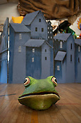 "Building of ""City of Frogs"" at Paperhand Puppet Intervention studio in Saxapahaw NC on Tuesday July 31st 2012."