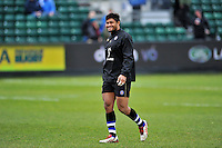 Amanaki Mafi of Bath Rugby looks on during the pre-match warm-up. Aviva Premiership match, between Bath Rugby and Wasps on February 20, 2016 at the Recreation Ground in Bath, England. Photo by: Patrick Khachfe / Onside Images