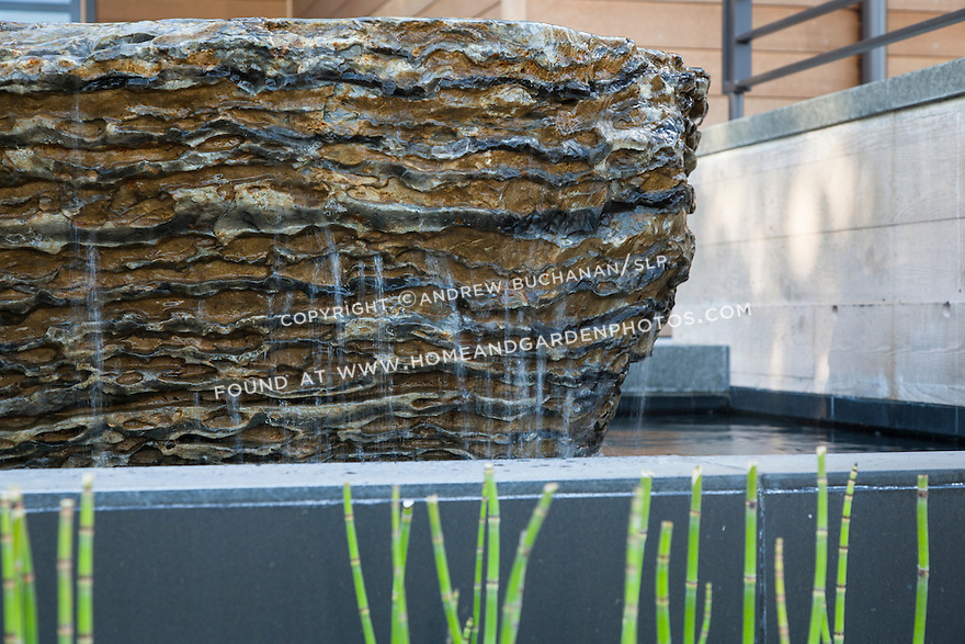 Detail of cascading water in a unique water feature