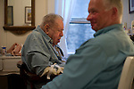 © 2011  David Burnett .Contact Press Images.212 695 7750..September 1, 2011..New York, NY.two members of the Morningside community:.Joe Schwartzman, with long time friend Ava Schonberg; and volunteer Tom ____..Kate Kolchin at home on 116th st, and Denise, her volunteer friend, at the park on Riverside Drive