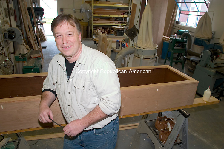 RIVERTON, CT - 13 APRIL 2006 -041406JT02--<br /> In place of the traditional prize of Hitchcock chairs, local woodworker Dave Mattson has volunteered to make chairs for the winners of the annual fishing derby in Riverton  due to Hitchcock closing this year.<br /> Josalee Thrift Republican-American