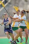 9 April 2008: University of Vermont Catamounts' Defense/Midfielder Annie Strout, a Junior from North Andover, MA, in action against the University of New Hampshire Wildcats at Moulton Winder Field, in Burlington, Vermont. The Catamounts rallied to defeat the visiting Wildcats 9-8 in America East divisional play...Mandatory Photo Credit: Ed Wolfstein Photo
