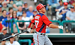 6 March 2012: Washington Nationals infielder Tyler Moore in action during a Spring Training game against the Atlanta Braves at Champion Park in Disney's Wide World of Sports Complex, Orlando, Florida. The Nationals defeated the Braves 5-2 in Grapefruit League action. Mandatory Credit: Ed Wolfstein Photo