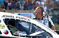 Jul. 19, 2013; Morrison, CO, USA: Jimmy Prock , crew chief for NHRA funny car driver John Force during qualifying for the Mile High Nationals at Bandimere Speedway. Mandatory Credit: Mark J. Rebilas-