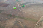 Hot-air balloon over rural Marrakech, Morocco.