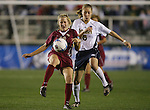 1 December 2006: Florida State's Becky Edwards (l) and Notre Dame's Amanda Cinalli (5) challenge for the ball. The University of Notre Dame Fighting Irish defeated Florida State Seminoles 2-1 at SAS Stadium in Cary, North Carolina in an NCAA Division I Women's College Cup semifinal game.