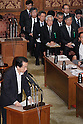 May 20th, 2011, Tokyo, Japan - Japanese Prime Minsiter Naoto Kan speaks during a House of Councillors Budget Committee meeting at the Diet in Tokyo on Friday, May 20, 2011. Kan said his government will compile, if necessary, a second, third and even a fourth extra budget for the current fiscal year through March 2012 to finance reconstruction project in the quake-tsunami hit northeastern region. Top officials of utility companies are present in the background. (Photo by AFLO) [3609] -mis-.