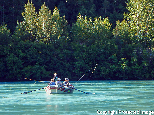 fishing from a dory on the Kenai River