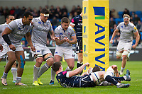 Bath Rugby players celebrate as Matt Banahan crosses the try-line. Aviva Premiership match, between Sale Sharks and Bath Rugby on May 6, 2017 at the AJ Bell Stadium in Manchester, England. Photo by: Patrick Khachfe / Onside Images