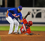 5 March 2012: New York Mets infielder Ruben Tejada gets Roger Bernadina out at second during a Spring Training game against the Washington Nationals at Digital Domain Park in Port St. Lucie, Florida. The Nationals defeated the Mets 3-1 in Grapefruit League play. Mandatory Credit: Ed Wolfstein Photo
