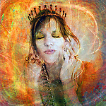 Woman wearing a tiara. Photo based illustration.<br />
