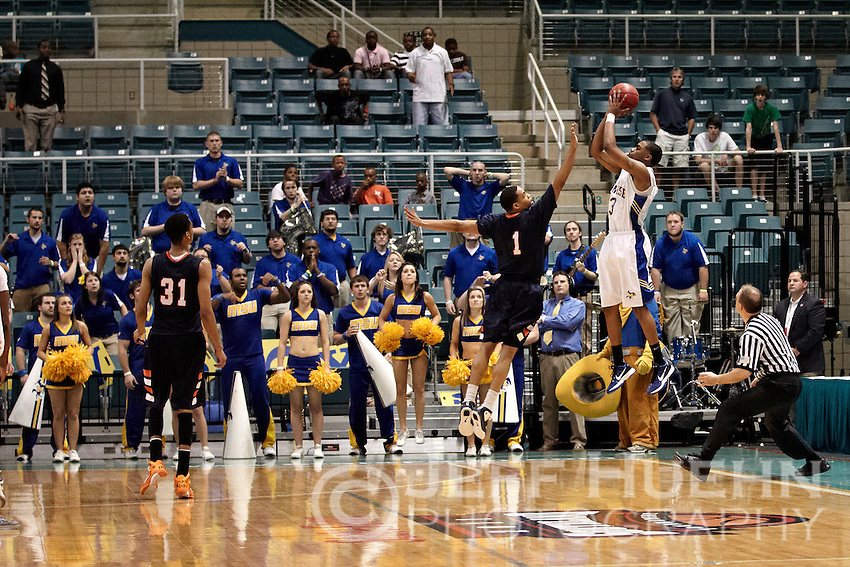 KATY, TX - MARCH 13, 2011: The 2011 Southland Conference Men's Basketball Tournament Championship Game featuring the University of Texas at San Antonio Roadrunners vs. the McNeese State University Cowboys at the Merrell Center. (Photo by Jeff Huehn)