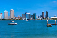Skyline, Coronado Island, Ferry Landing, Water Taxi, San Diego, California High dynamic range imaging (HDRI or HDR)